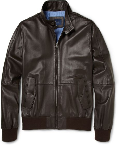 Faconnable Leather Jacket in Brown for Men - Lyst
