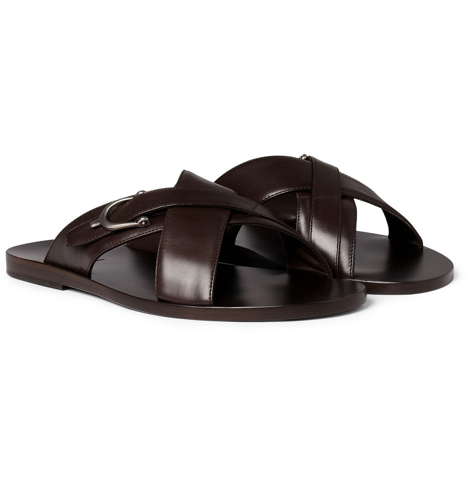 Gucci Leather Horsebit Sandals In Brown For Men Lyst