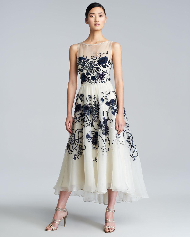 Lyst lela rose floralembroidered silk chiffon dress in white gallery mightylinksfo