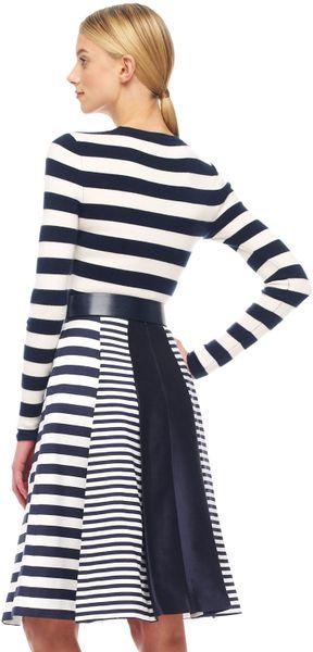 Michael Kors Mixstripe Shantung Skirt in Blue (natural) - Lyst