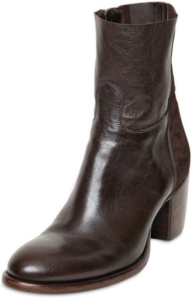 p 55mm kangaroo leather suede low boots in brown lyst