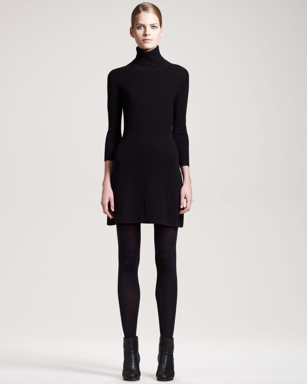 lyst  theory stretch turtleneck dress in black