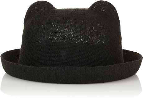 Topshop Cat Ear Hat in Black