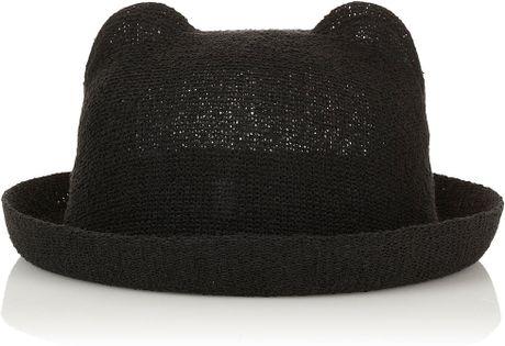 Topshop Cat Ear Hat in Black - Lyst