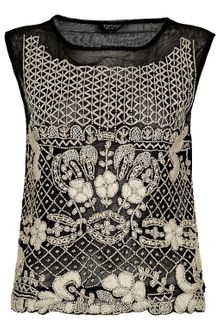Topshop Heavy Embroidered Mesh Tank - Lyst
