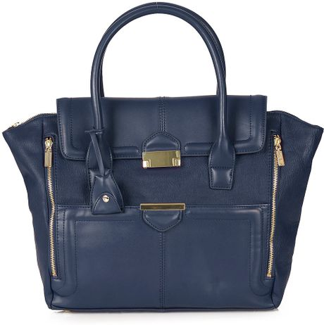 Topshop Winged Pushlock Tote Bag in Blue (navy blue)
