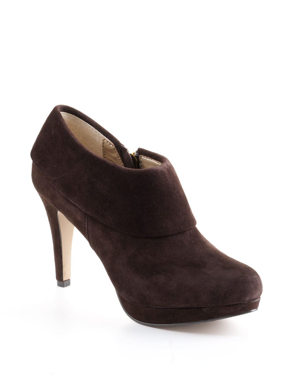 adrienne vittadini polenta suede ankle boots in brown