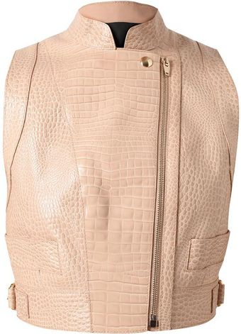 Alexander Wang Crocodile Embossed Leather Biker Vest - Lyst