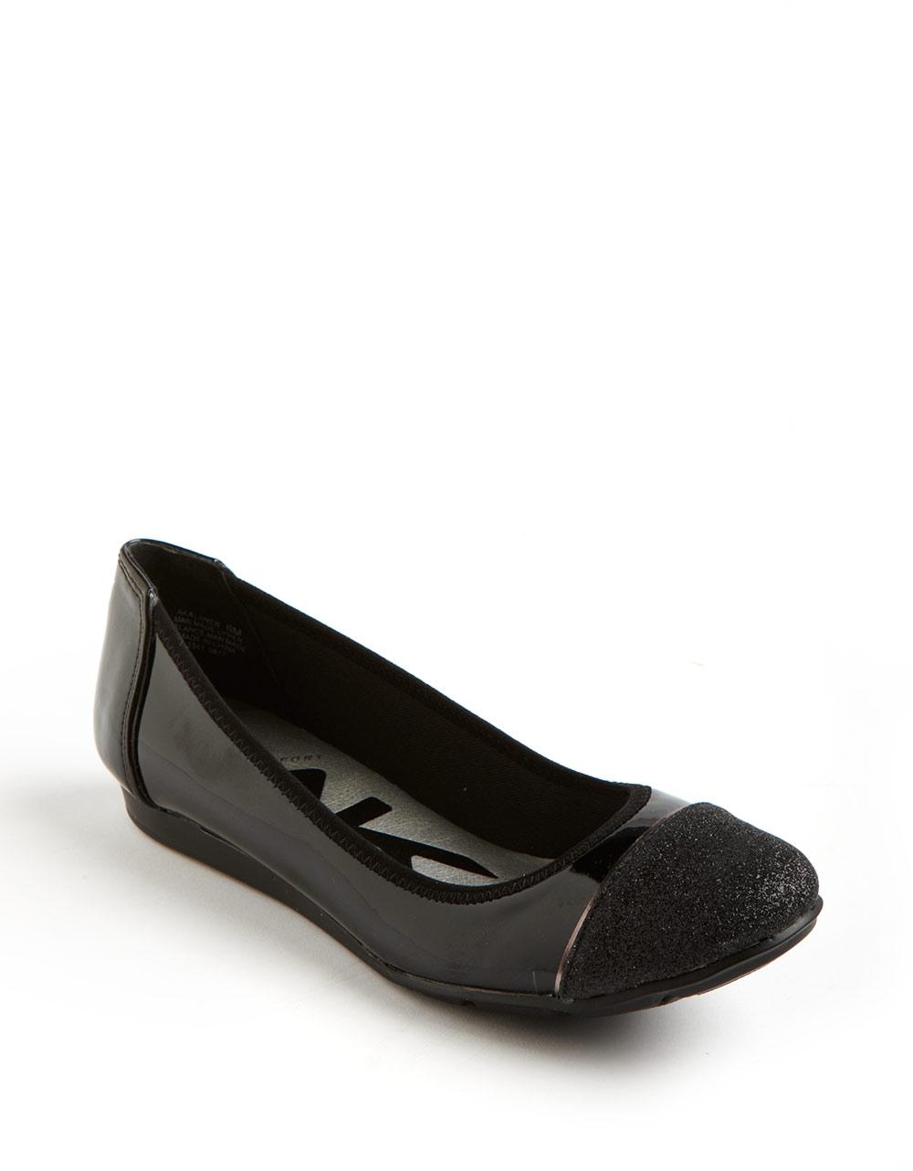 Anne Klein Alaner Glitter Captoe Flats in Black