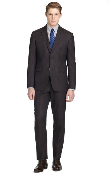 Brooks Brothers Milano Fit Mini Stripe Suit in Brown for Men (dark-brown) - Lyst