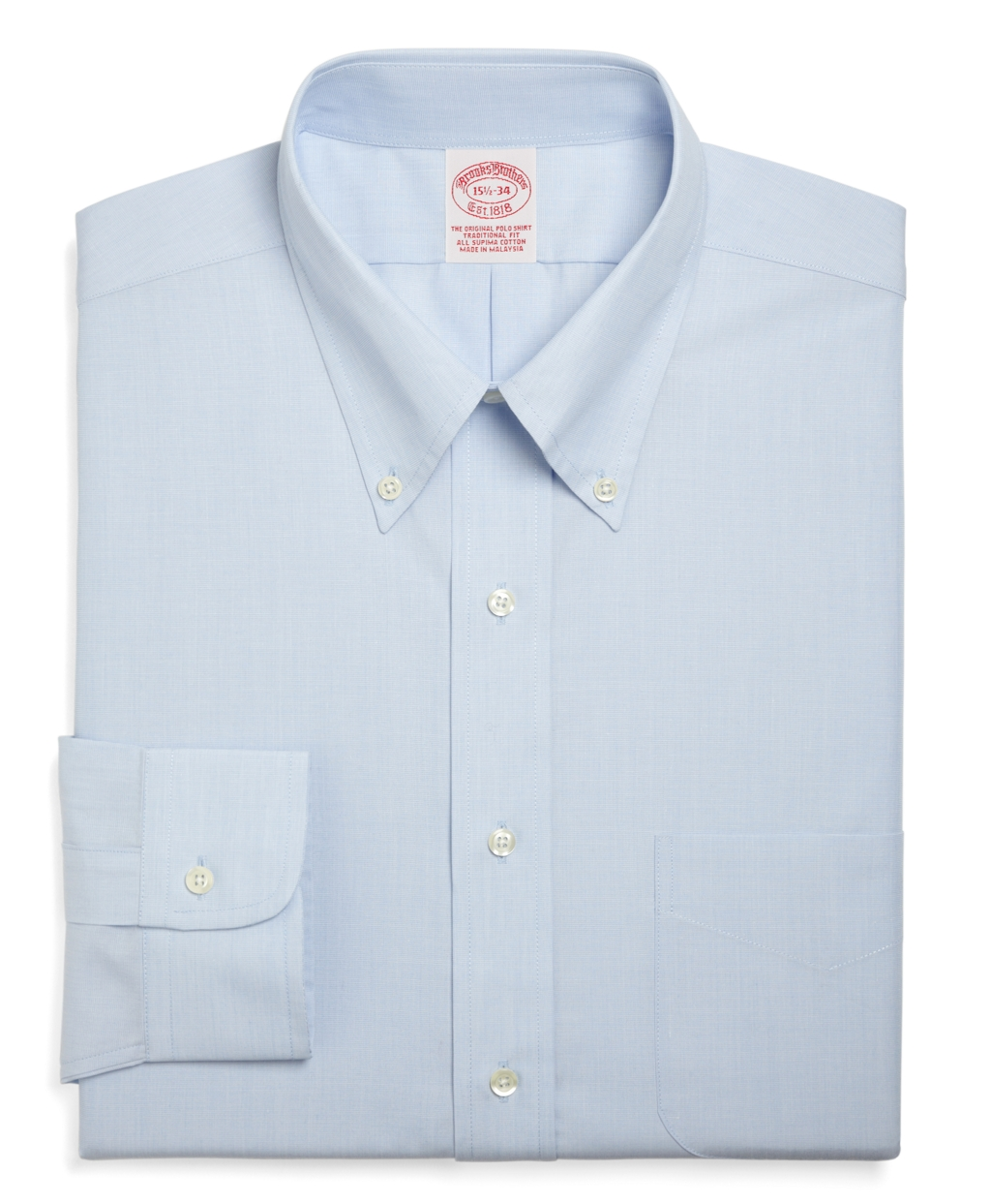 Brooks brothers traditional fit button down collar dress for Brooks brothers dress shirt fit guide