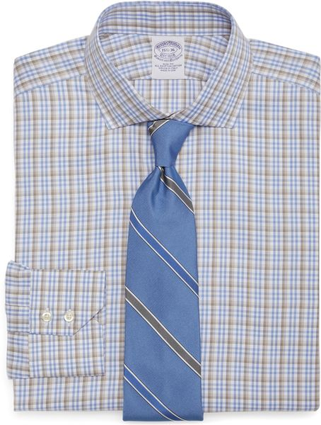 Brooks brothers egyptian cotton slim fit twill plaid for Mens egyptian cotton dress shirts