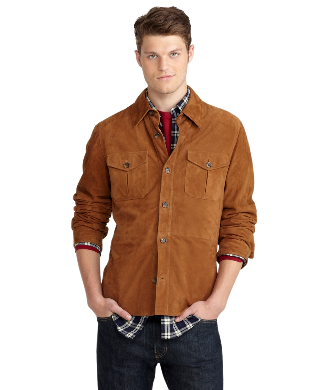 174faeb89a Lyst - Brooks Brothers Suede Shirt Jacket in Brown for Men