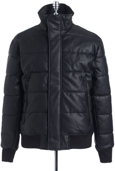 Dkny Faux Leather Puffer Coat In Black For Men Lyst