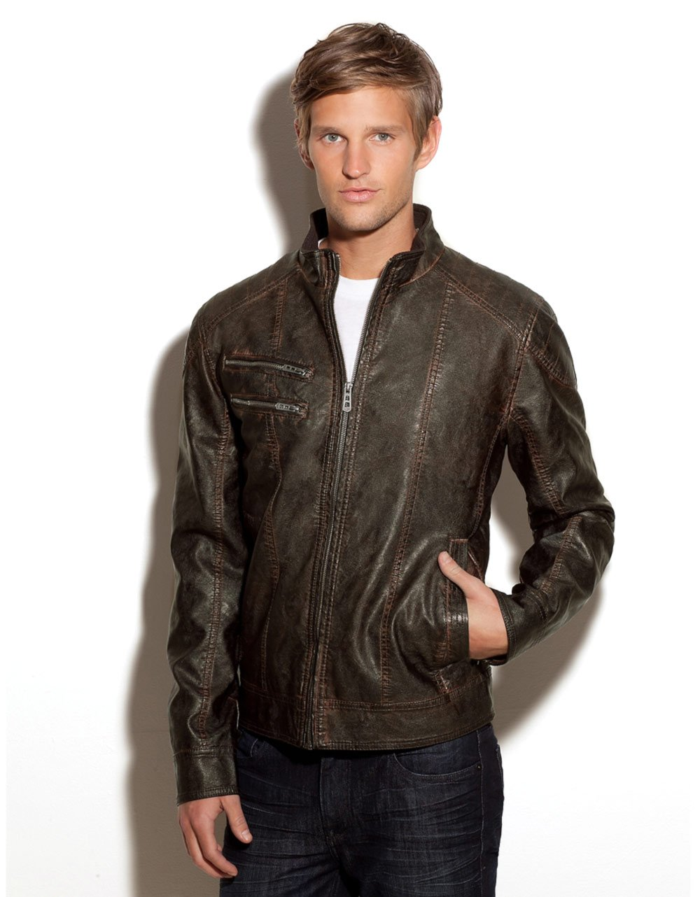 Guess Mens Leather Jacket Guess Leather Jackets For Men
