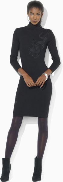 Lauren By Ralph Lauren Petites Merino Embroidered Dress in Black