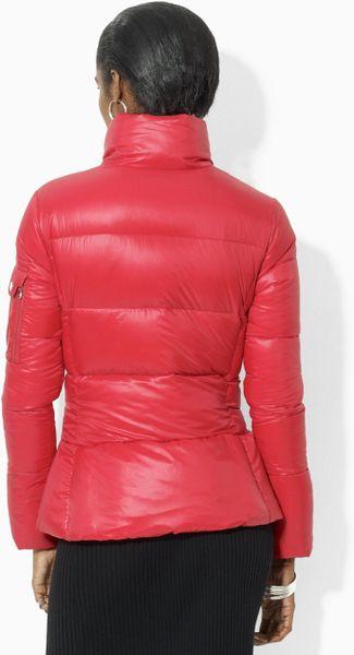 Lauren By Ralph Lauren Quilted Microfiber Jacket In Red Lyst