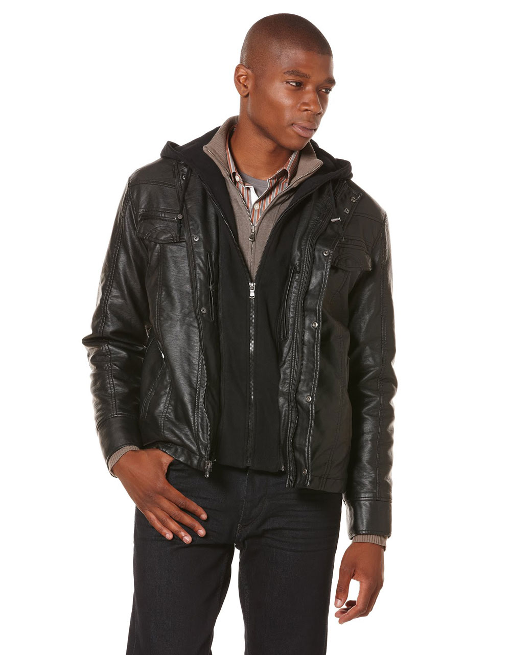 Perry Ellis Hooded Faux Leather Jacket In Black For Men