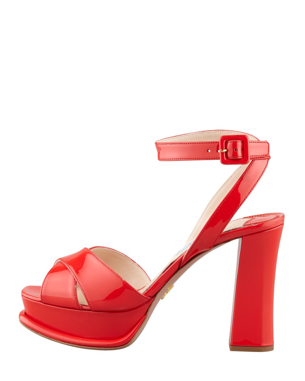 1cb2309e12f8 Lyst - Prada Patentleather Platform Sandal Heels in Red