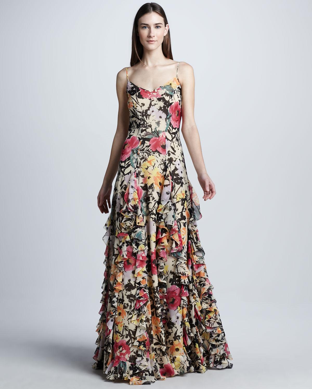Lyst Ralph Lauren Collection Floral Silk Organza Evening Dress