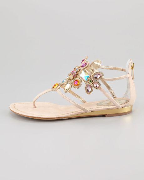 Rene Caovilla Jeweledcuff Thong Sandal In Beige Lyst