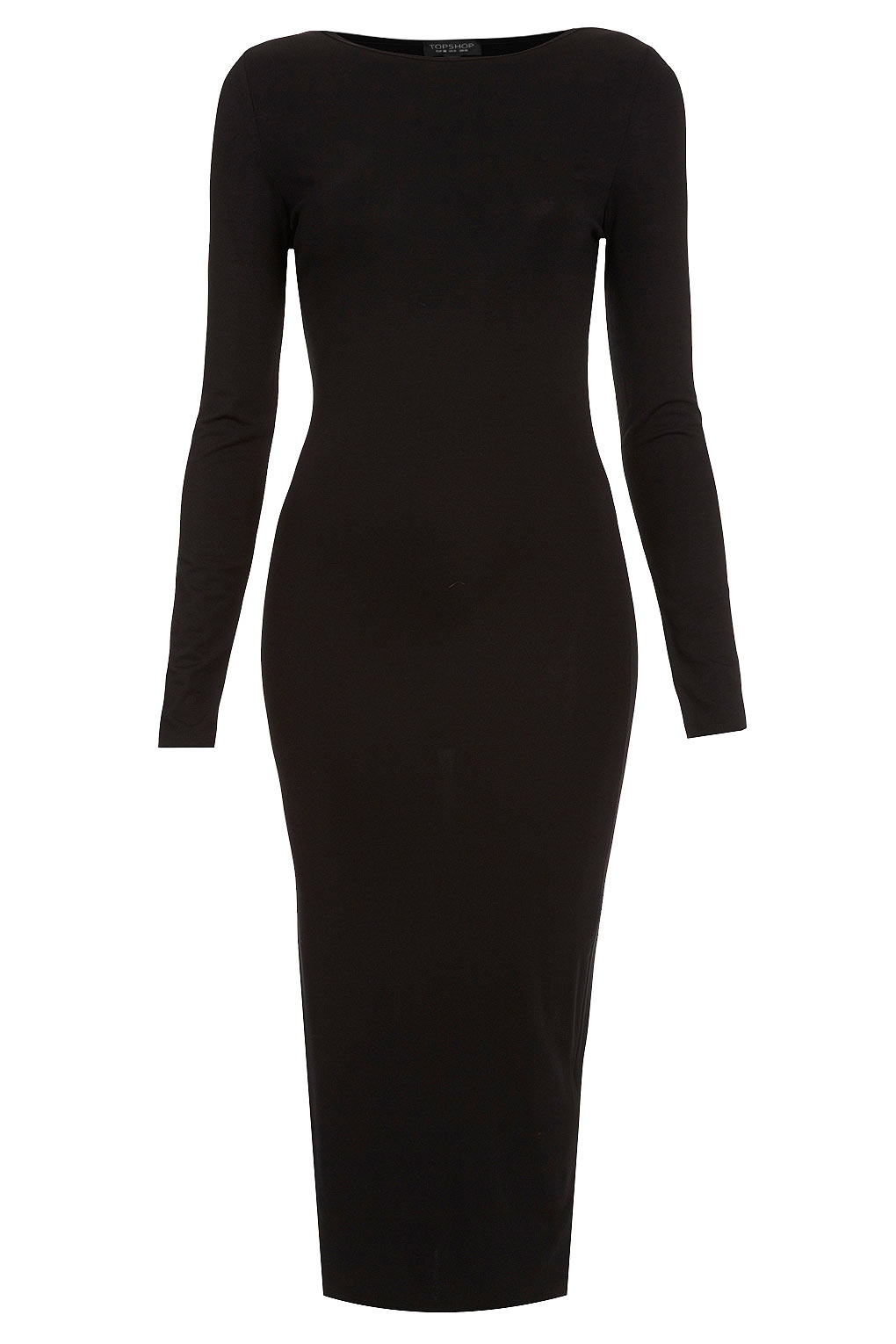 5f8fa60a3f6 TOPSHOP Plain Midi Bodycon Dress in Black - Lyst