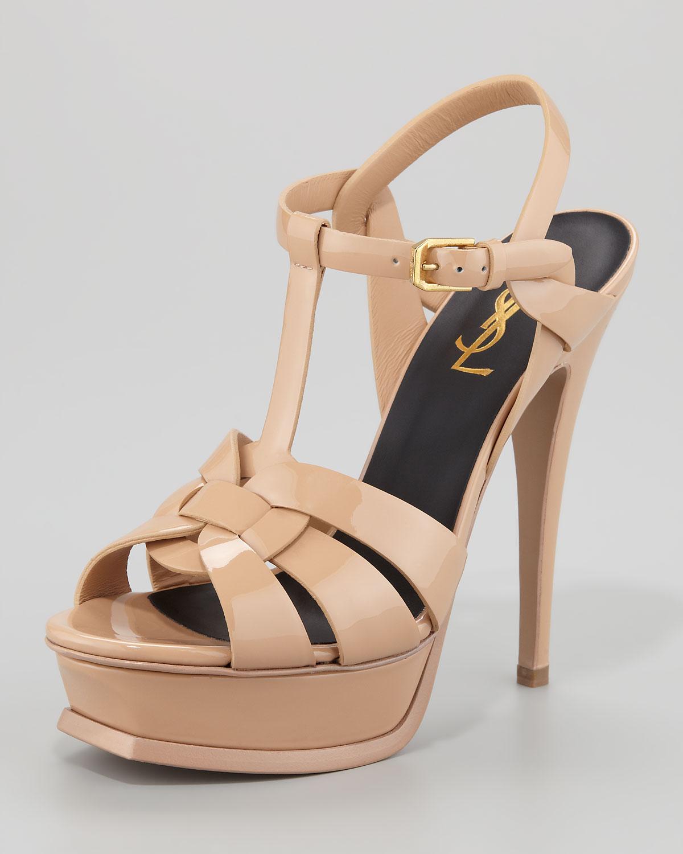 c4b85e8262a Lyst - Saint Laurent Tribute Patent Leather Platform Sandal in Natural