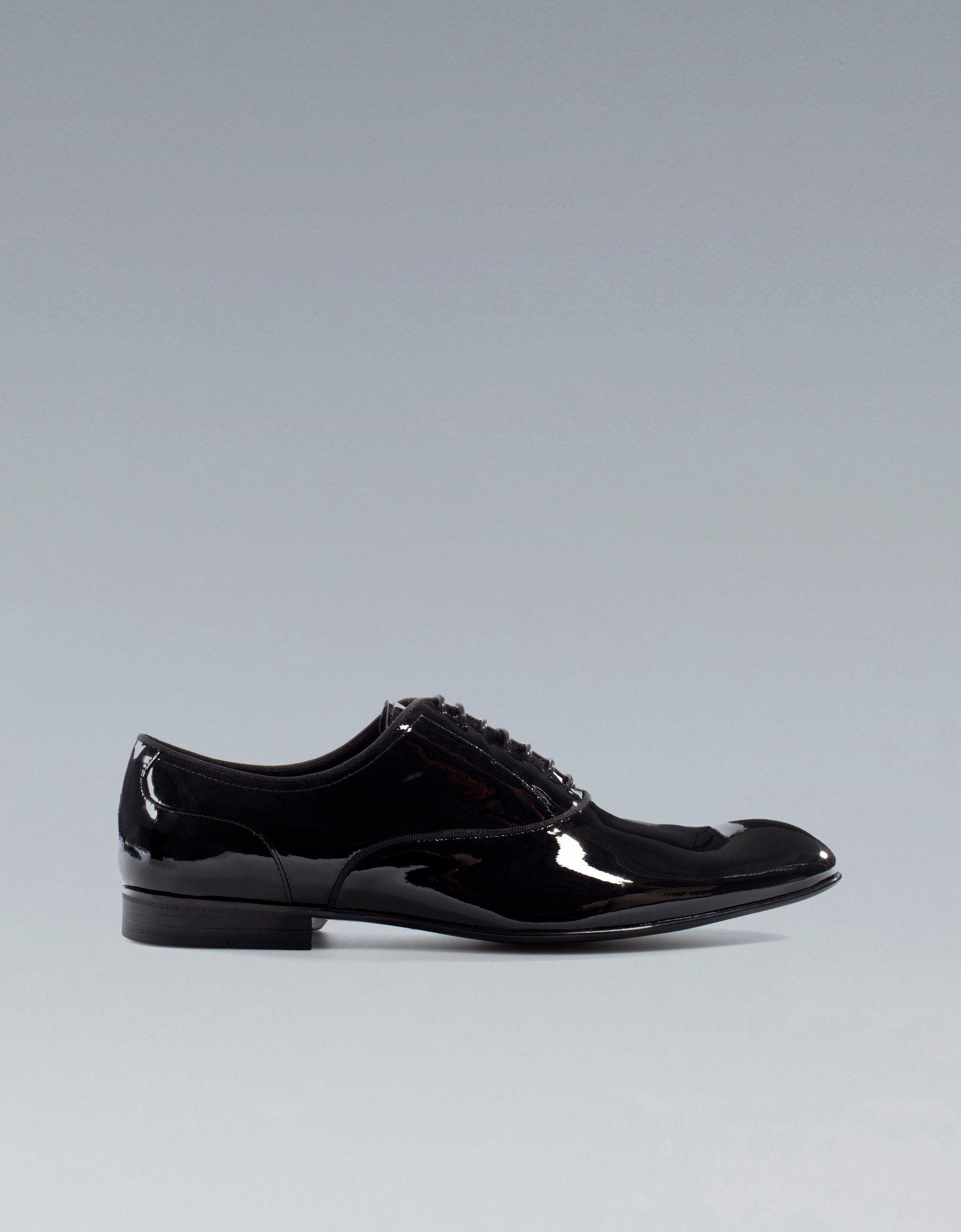 zara asymmetric patent leather oxford shoe in black for