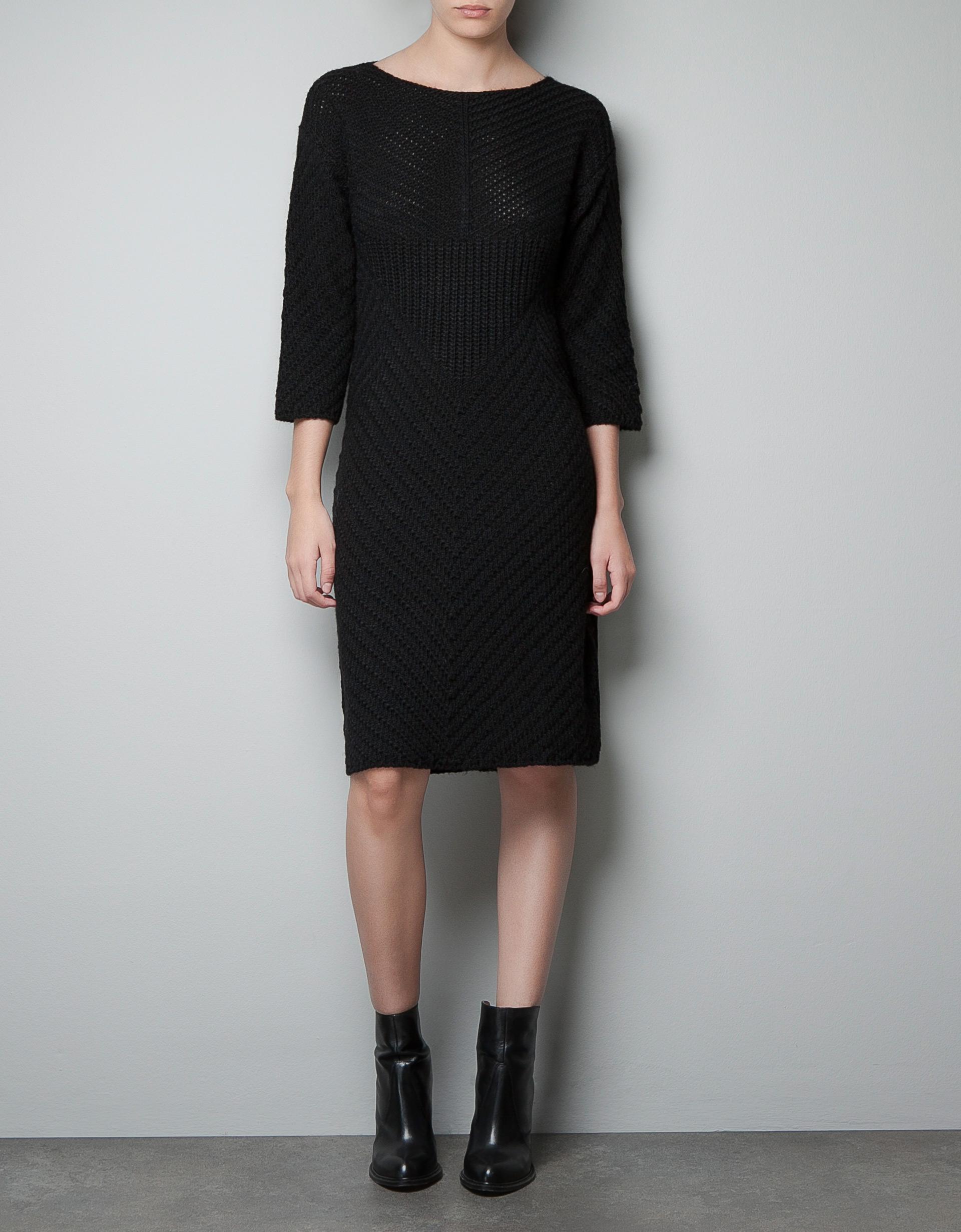 Zara Combination Knit Dress in Black  Lyst