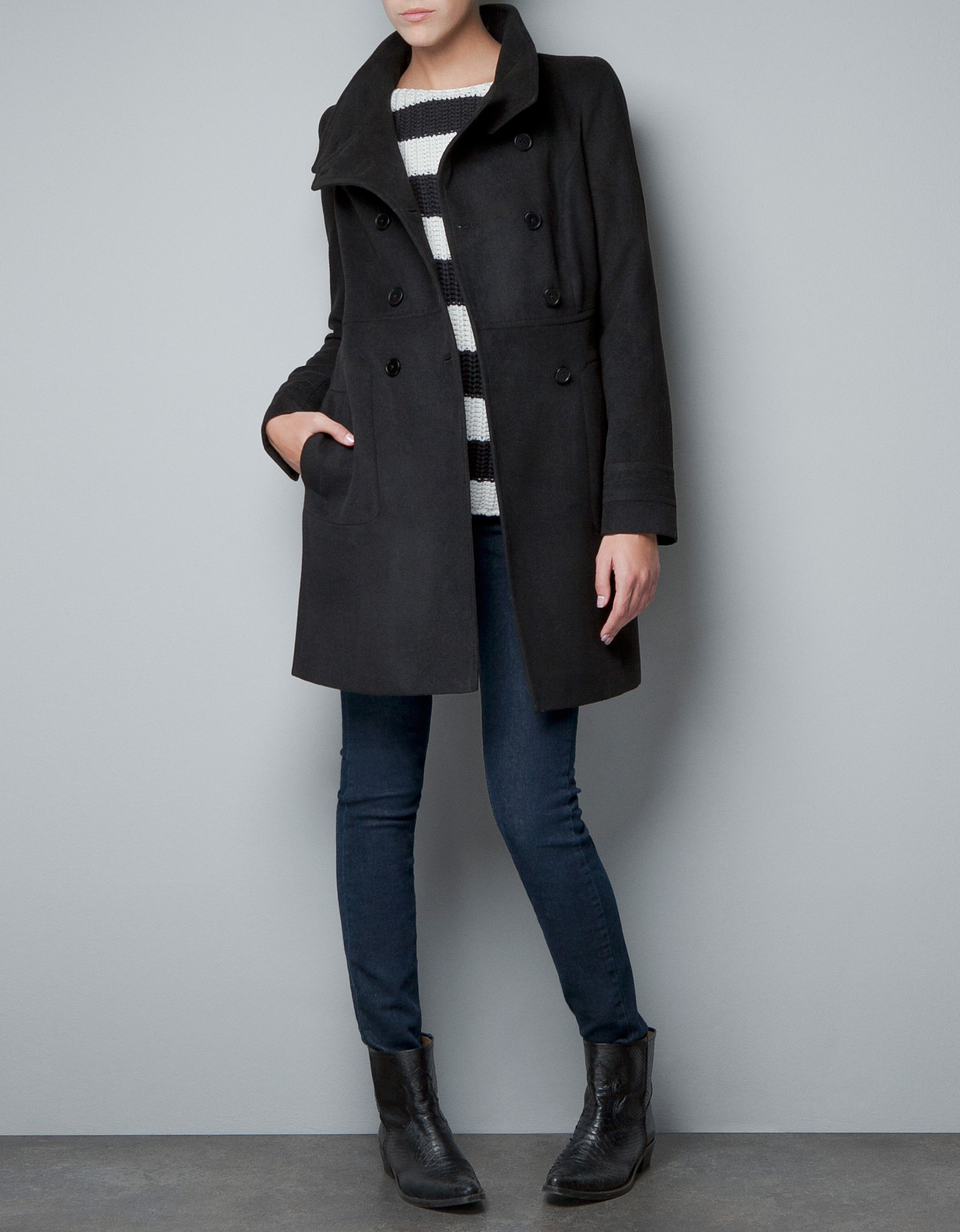 Zara Double Breasted Wool Coat in Black | Lyst
