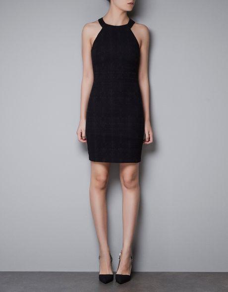 Zara Jacquard Tube Dress in Black
