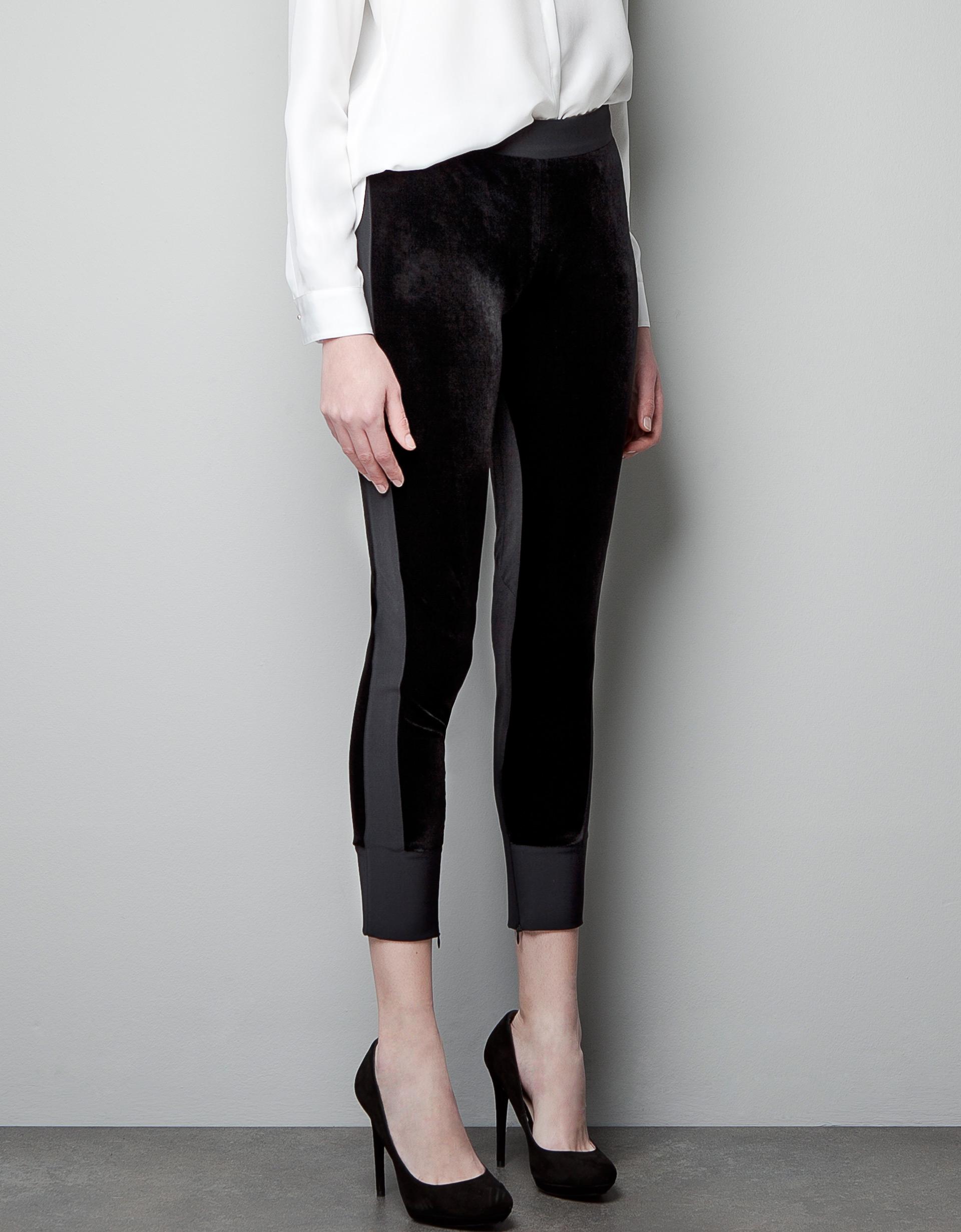 Zara Velvet Trousers With Side Stripes In Black Lyst