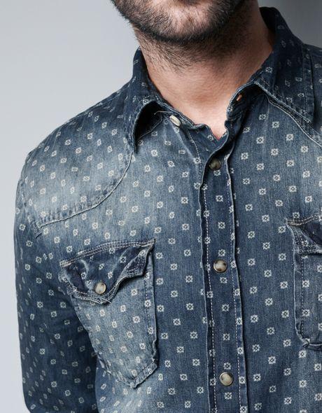 Zara printed denim shirt in blue for men lyst for Zara mens shirts sale