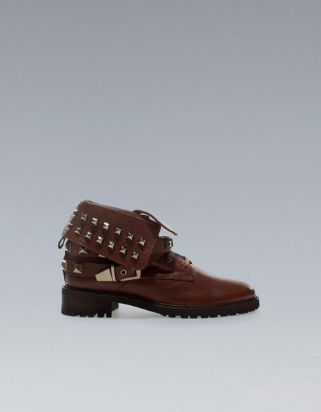 zara studded ankle boots with straps in brown lyst
