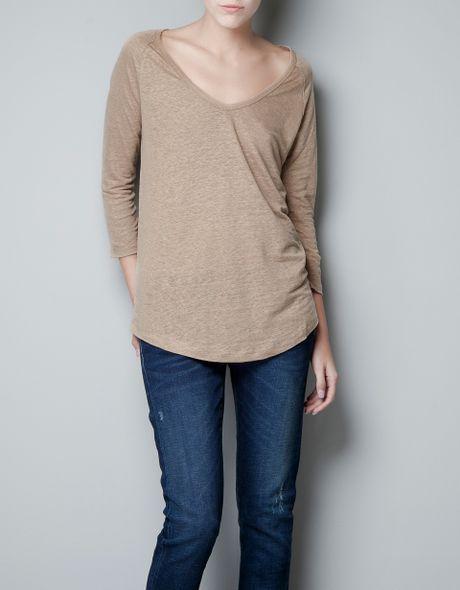 Zara Tshirt in Brown (dark camel)