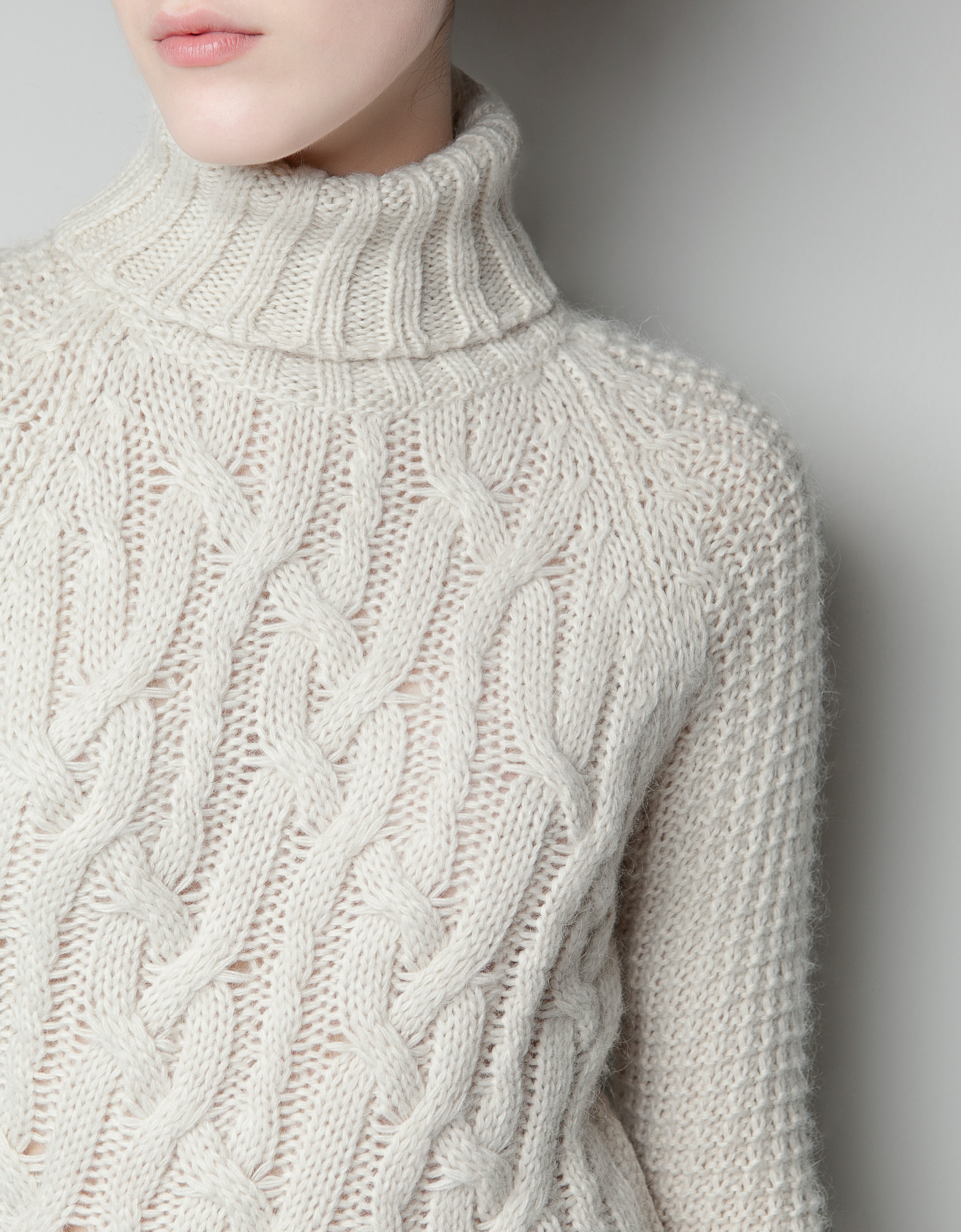 Knitting Pattern Cable Dress : Zara Cable Knit Dress in White Lyst