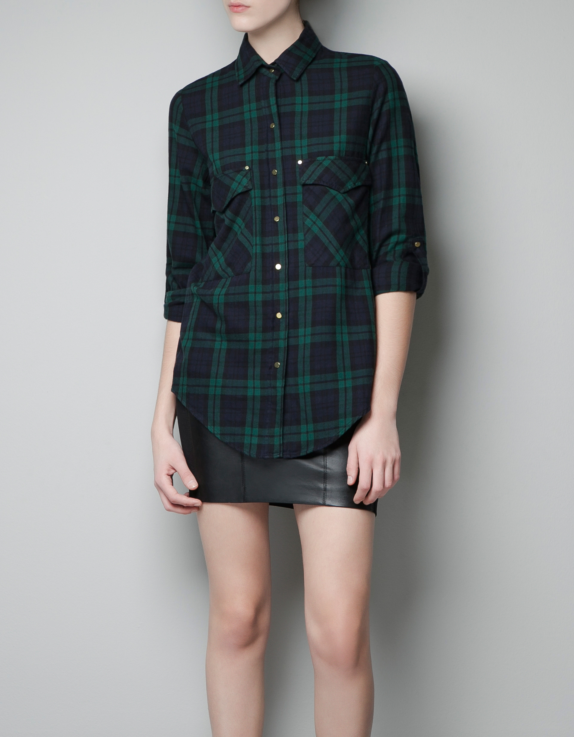 Green check shirt womens artee shirt for Womens green checked shirt