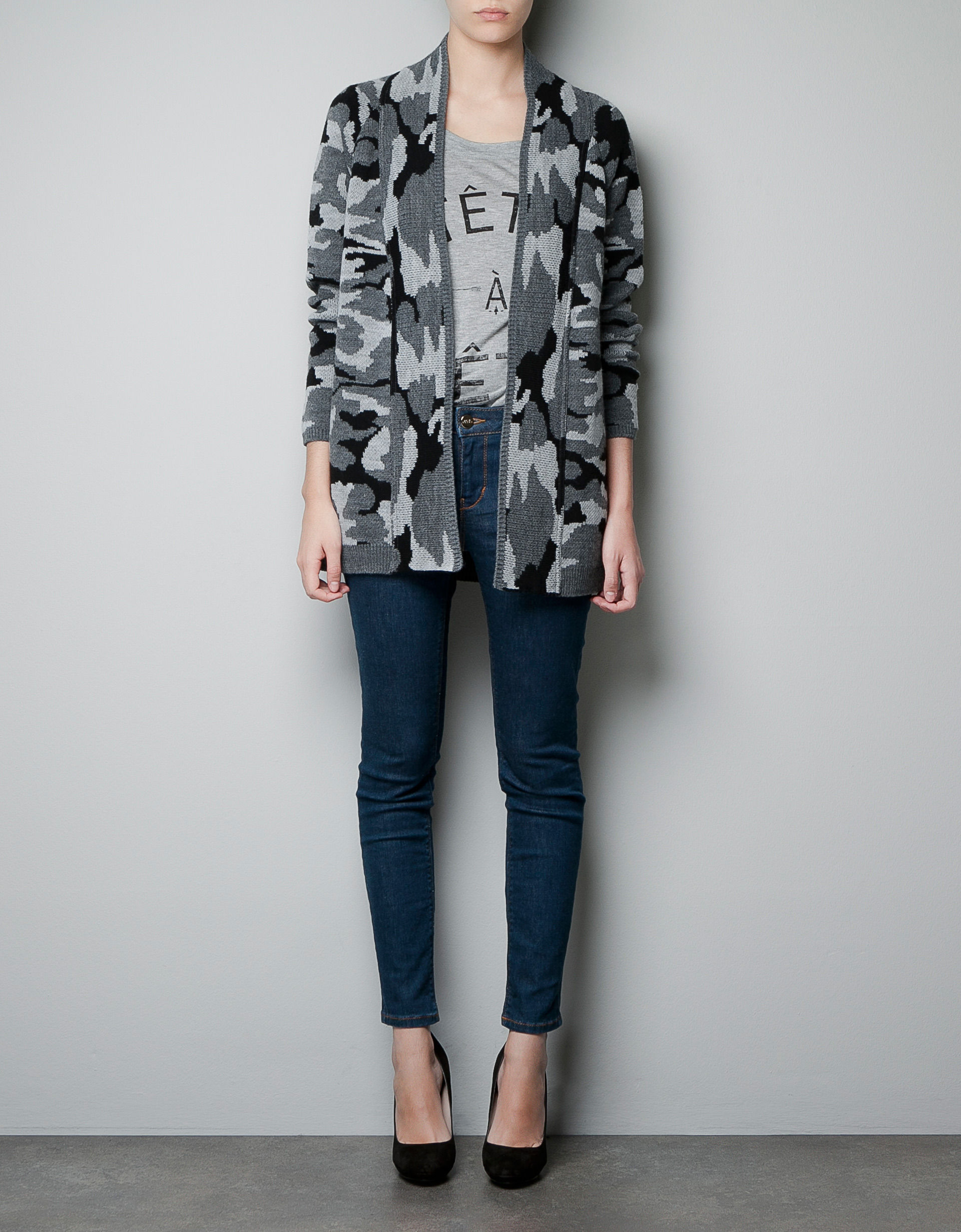 Fantastic Zara Camouflage Trousers With Zips In Gray Grey  Lyst