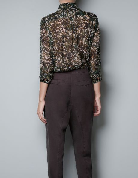 Luxury Zara Camouflage Trousers With Zips In Green  Lyst