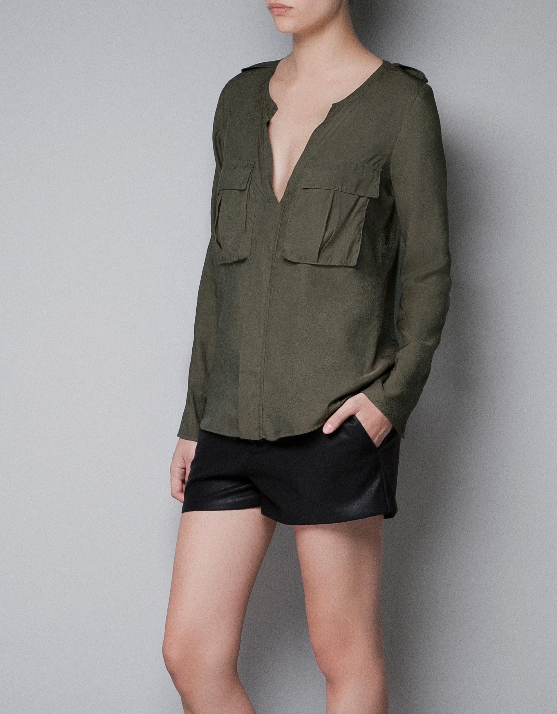 Safari Shirt Cognac Heels: Zara Safari Shirt With Pockets In Green (khaki)