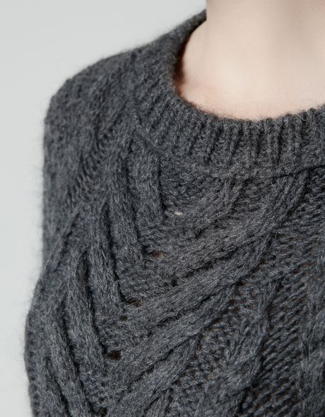 Zara Aran Knit Dress in Gray (marengo) Lyst