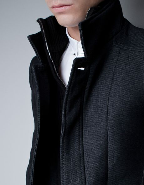Zara Coat With Knitted Collar In Gray For Men Marengo Lyst