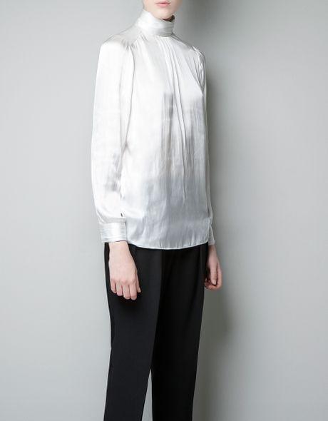 White Blouse High Collar 69