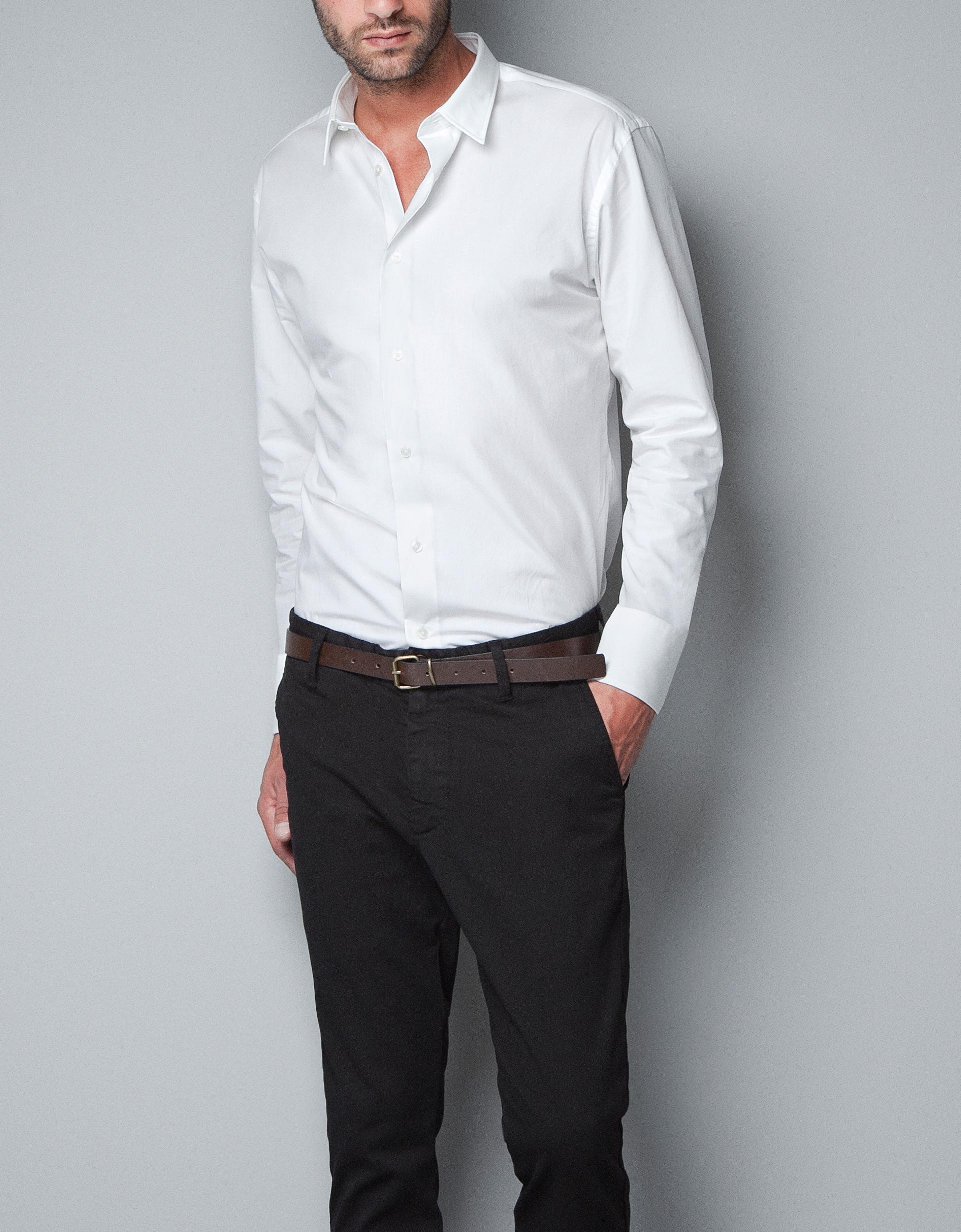 zara poplin shirt in white for men lyst