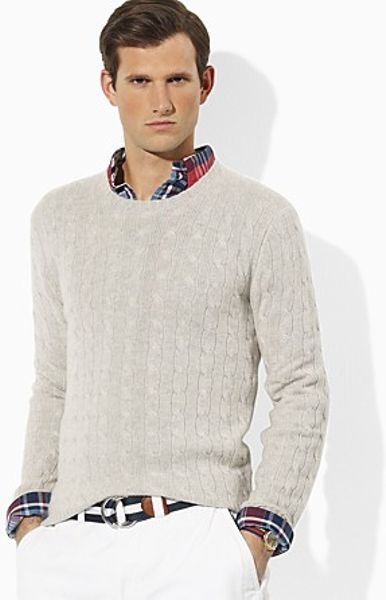 Ralph Lauren Long Sleeved Cashmere Cableknit Crewneck Sweater in Gray for Men (light grey) - Lyst