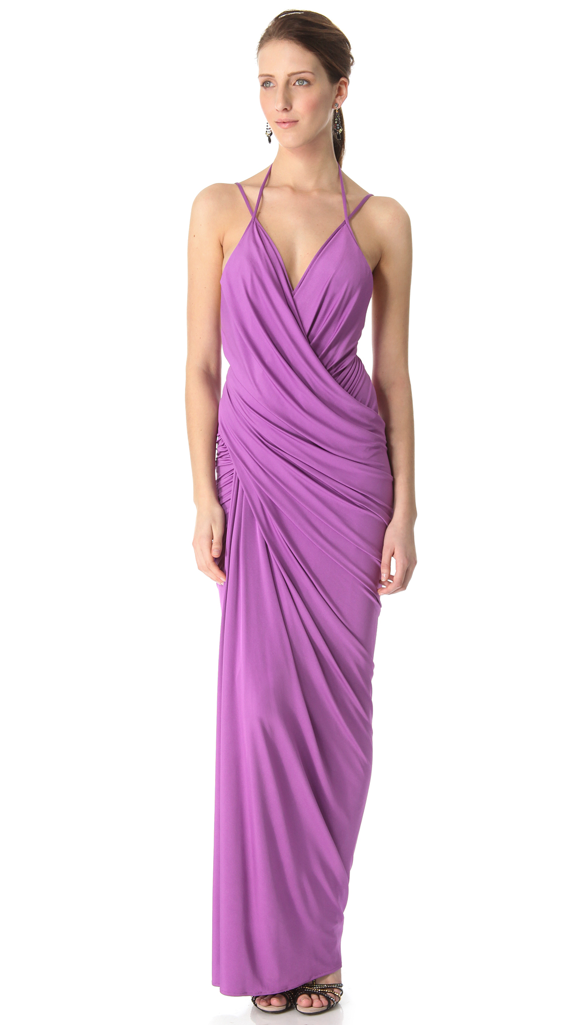 Donna karan new york plunge evening gown in purple lyst for Donna karen new york
