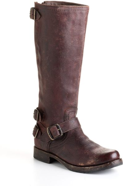 frye distressed leather boots in brown brown
