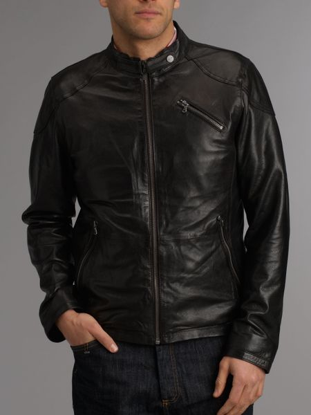 Kenneth Cole Reaction Grey Faux Leather Removable Hooded Jacket in