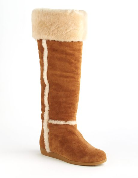 kors by michael kors porter fur lined suede boots in brown