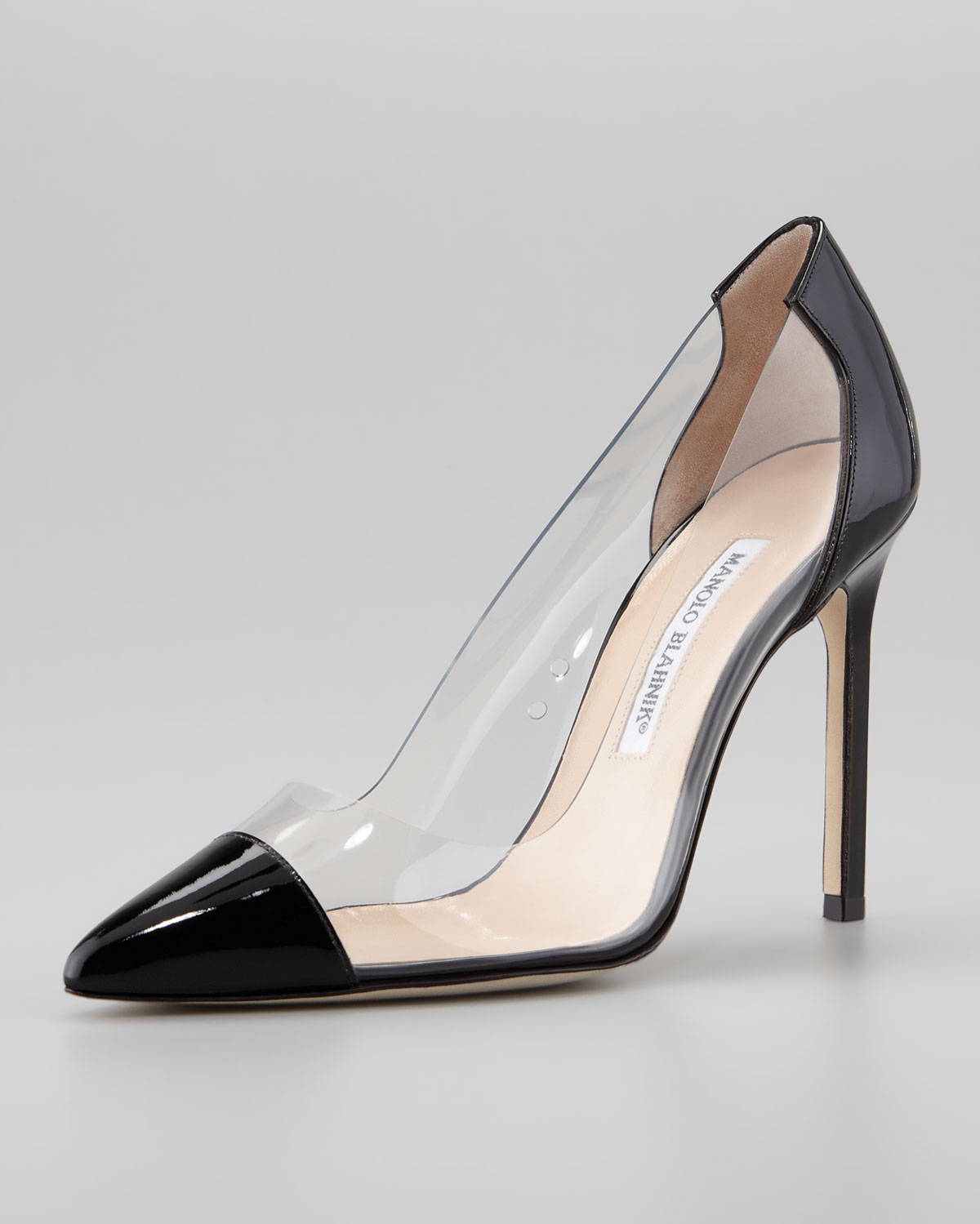 Lyst manolo blahnik pacha clear pvcpatent pump in black for Who is manolo blahnik